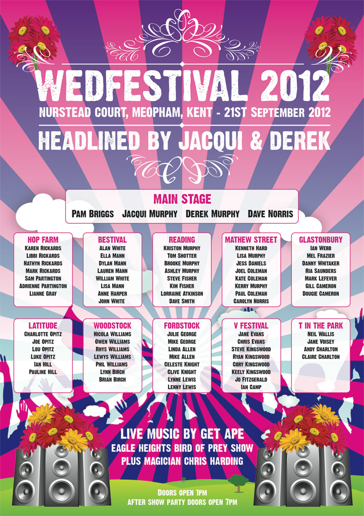Wedfest festival themed poster wedding seating table plan