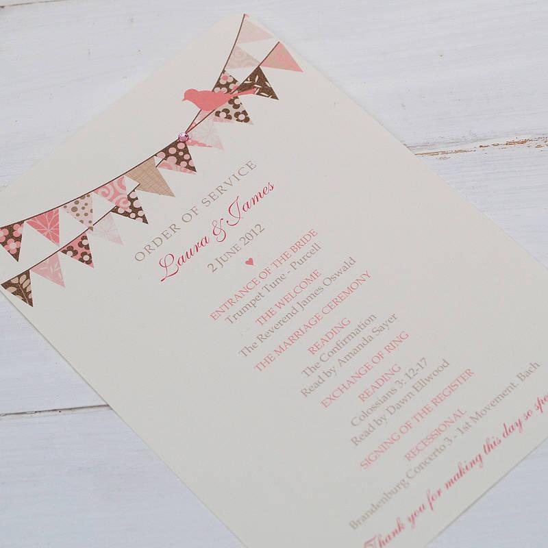 Order Of Service Wedding Ideas: Original_personalised-wedding-order-of-service-cards